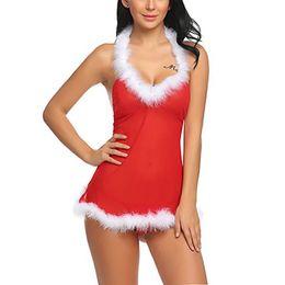 Christmas santa lingerie online shopping - Miss Santa Halterneck Christmas Festive Red Mesh Backless Babydoll Holiday Chemise with White Fuzzy Trim Women Sexy Lingerie Panty Set XXL
