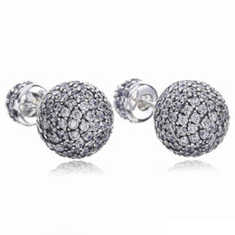Discount double top plate - 925 Sterling Silver Earrings CZ pave Drops Water Double Ball Earring Fit Pandora Charms Jewelry Stud Earring Top Quality
