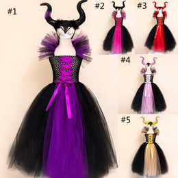 sash military NZ - Girls Maleficent 2 cosplay dress Children Halloween lovely movie Maleficent: Mistress of Evil Party dress + headwear sets kids clothes B1