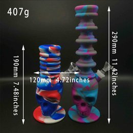 Big Silicone Bong Australia - 1PC silicone bong Tall recycler oil rigs glass water bong big skull percolator silicone glass smoking water pipes