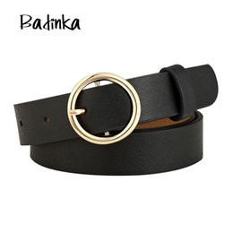 Gold Silver Leather Belt NZ - Badinka New Round Metal Circle Belt Female Gold Silver Black White PU Leather Waist Belts for Women Jeans Pants Wholesale C19010301