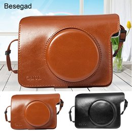 Discount wholesale instax camera - Besegad PU Leather Bag Case Cover Pouch Protector w Shoulder Strap for Polaroid Instax Wide 300 Instant Print Camera
