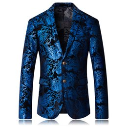 $enCountryForm.capitalKeyWord Australia - Mens fashion Dance Blazer Coats 2019 Male pattern Business affairs Wedding Stage Long sleeve Suit Jackets Slim coat M-5XL