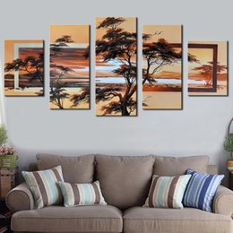 Decorative pictures for beDrooms online shopping - 5 Piece Set Canvas Art Hand Painted Modern Abstract Landscape Decorative Picture for Bedroom Unframed Sunrise Oil Paintings