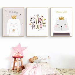 kids framed prints NZ - Colorful Cat Swan Canvas Painting Wall Art Posters And Prints Wall Pictures For Kids Room Decoration Poster Decor