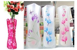 pvc foldable flower vase NZ - Hot Paper styles Colorful Plastic Folding Vases Creative Clear Eco-friendly Foldable Vase Unbreakable Flower PVC Vase