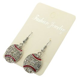 cheap platinum earrings Australia - Cheap Sparkling Crystal Embellished Baseball Softball Dangle Earrings Sports Theme for Women and Teens