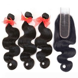 hair weave sizes Australia - Grade 9A Brazilian Peruvian Malaysian Indian Virgin Human Hair Weave 3 Bundles With Lace Closure 6*2 Size Body Wave Cambodian Mink Remy Hair