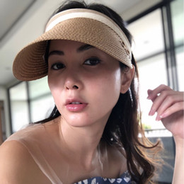 1e8364b2 Straw Uv Hat Australia - Korean Sun Visor Hat Women Summer Beach Sun Hat  Empty Top