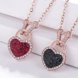 Wholesale Heart Shaped Diamonds Australia - Hot new 18K gold inlaid natural crystal round & heart-shaped necklace European and American girls sweet simple diamond necklace