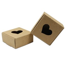 Gift Packing Papers Australia - 20pcs 7.5*7.5*3cm Kraft Paper Packaging Box Wedding Party Gift Packing Box With Heart Window For Handmade Soap Jewelry box free shipping