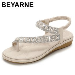 soft fit shoes Australia - BEYARNEwedding women sandals flat summer crystal diamond big size plus slip on bridal white wide fit bling pearl toe ring shoes Y200702