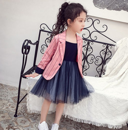 Child blazers online shopping - 2019 Fall new Girls outwear kids stripe blazers outwear children lapel long sleeve princess tops lady style children clohing F9350