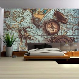 Painting world maP online shopping - beibehang Custom wallpaper d decorative painting retro world map pocket watch background wall papers home decor papel de parede