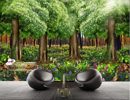 Dreaming houses online shopping - 3d room wallpaper custom photo Forest beautiful dream TV background wall decoration painting full of flowers art canvas pictures