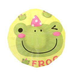 kids eva hats Australia - Kids Waterproof EVA Shower Cap Cute Cartoon Frog Bear Owl Printed Ruched Pleated Elastic Baby Bathing Head Hat Cover