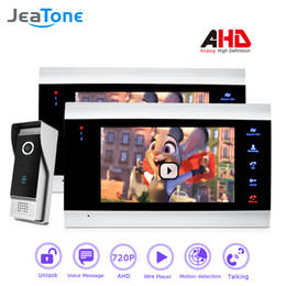 $enCountryForm.capitalKeyWord NZ - JeaTone 720P AHD 4 Wired 7'' Video Door Phone Intercom Door Bell Enter Security System Voice message Motion Detection MP4 Player 2 Monitors
