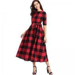 eae639f195af Women Plaid Dress bow tie Vintage Corset Dresses Summer Lady Casual  Mid-Calf Dress crew neck skirt dresses GGA1550