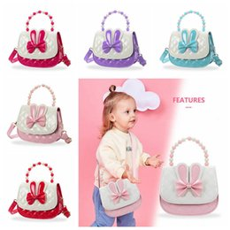 Discount bags kid handbags - Baby Girl Handbag Candy color Bowknot Pearl handgrip Bag Children Cartoon PU Leather Wallet Kids Shoulder Bag Coin Purse