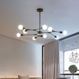 Wholesale magic mounts resale online - Creative magic bean chandelier lights for restaurant bar villa living room bedroom vintage black pendant lighting led hanging lamps