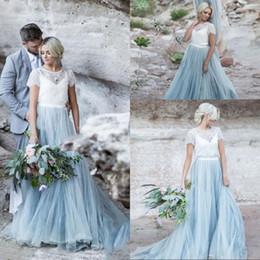 Cheap Lace Shirts Australia - Wedding Dress Sky Blue Lace Bride Dres Short Sleeves A-line Romantic Vestido Novia Cheap High Quality