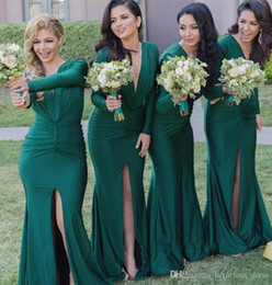 $enCountryForm.capitalKeyWord Australia - Long Sleeve Hunter Green Long Bridesmaid Dresses with Slit 2019 Fashionable V Neck Mermaid Maid of Honor Junior Wedding Party Guest Gown