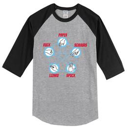 Star trek Spock online shopping - Summer T shirt For Men Star Trek Big Bang Theory Rock Paper Scissors Lizard Spock Print Three Quarteer Sleeve Men s T Shirt
