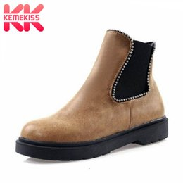 $enCountryForm.capitalKeyWord Australia - KemeKiss Ankle Boots For Women 2020 New Winter String Beads Casual Flats Shoes Women Keep Warm Round Toe Footwear Size 34-43