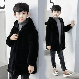 $enCountryForm.capitalKeyWord Australia - 2019 Autumn Winter Fashion Kids Boys Faux Mink Fur Jackets Children Boys Hooded Zipper Thick Warm Coat Teenage Black Outwear