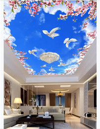 dive housing Canada - Custom 3D large silk ceiling mural photo wallpaper Blue sky and white clouds flowering branch white dove living room ceiling zenith mural