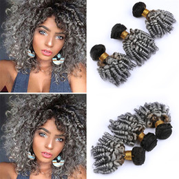 gray black hair extensions 2020 - Dark Roots 1B Grey Ombre Aunty Funmi Curly Hair Bundles Black to Gray Ombre Bouncy Spiral Curly Human Hair Weave Wefts E