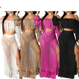 6b1156b8b7 2019 New Fish Net Tassel Beach Cover Ups Sets Women Off Shoulder Tops +long Skirts  Bikini Swimwear Swimsuits Cover Up Beachwear Y19060301