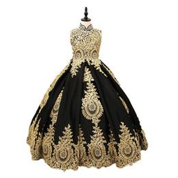 Venta al por mayor de 2019 Vintage Negro y Oro Niñas Vestidos del desfile Vestido de cuello alto Ojo de la cerradura Volver Aplique de encaje Corsé de cristal Atrás Niños Cumpleaños Niños