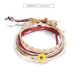 $enCountryForm.capitalKeyWord Australia - Bohemian 5 piece set small daisy leather rope bracelet ladies girl teen beach waterproof fresh temperament hand rope