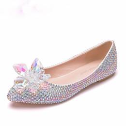 $enCountryForm.capitalKeyWord UK - Luxury Crystal Rhinestone Ballet Flats Pointed Toe Plus Size Bridal Wedding Shoes White Wedding Flat Shoes