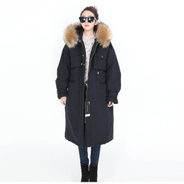 brown parka women UK - Euro Loose version Women's X-Long down Parkas hooded with Large Fox Fur collar Length over the knee