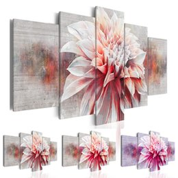 $enCountryForm.capitalKeyWord Australia - New Fashion Purple Flowers Dahlia Abstract Art on Canvas Painting Wall Art Picture Print Home Decor Gifts for Love (Without Frame)