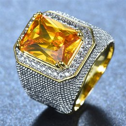 Discount male gold rings - Gorgeous Big Male Female Pink Yellow Blue White Ring Crystal Zircon Stone Gold Engagement Ring Men Women Large Wedding R
