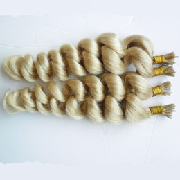 "wholesale fusion human hair extensions Australia - 400s Virgin Pre Bonded Stick I TIP Human Hair Extensions Virgin Indian Loose Wave Stick I TIP Remy Hair Extensions Keratin fusion 18"" 20"""