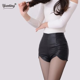 high waist black leather shorts NZ - 2019 New Fashion Summer Women's Sexy Black Red Pu Waist Vintage Slim Slit High Quality Size S-2xl Leather Shorts C19040901