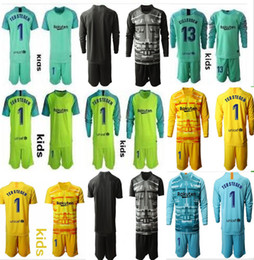 Soccer jerSey number kit online shopping - Youth Long Ter Stegen Goalkeeper Jersey Kids Kit Soccer Sets Marc Andre Ter Stegen Kid Boys Any Name Number Goalkeeper Uniform