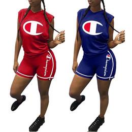 Pants big Pockets online shopping - Women Big C Suits Designer ss Clothing Sets Tank Tops Shorts Sports Casual Tracksuits