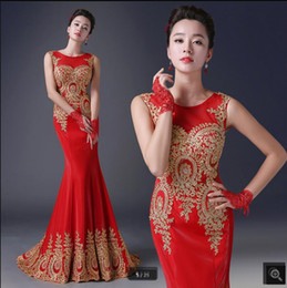 Hot Red Gold Dresses Australia - 2019 free shipping red mermaid evening dresses gold lace appliques beaded sequins sheer back sexy evening gowns hot sale prom party dress