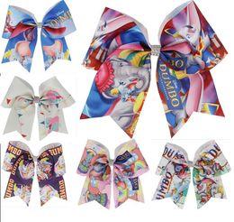 $enCountryForm.capitalKeyWord Australia - NEWEST 7'' Cartoon elephant Cheer Bows Print ribbon Hair Bow With Elastic Hair Bands For Girls Boutique Hair Accessories 20pcs