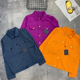 $enCountryForm.capitalKeyWord Australia - 19ss New luxurious brand design full logos print denim jeans jacket Men Women Streetwear Sweatshirts Outdoor Shirts