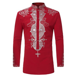Hipster Clothes Brands NZ - Mens Hipster African Print Dashiki Dress Shirt 2019 Brand New Ethnic Shirts Men Long Sleeve Shirts Africa Clothing Camisa