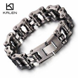 Cross Bicycles NZ - Kalen Brushed Bike Chain Bracelet Cool Biker Bicycle Chain Men's Bracelet Fashion Male Stainless Steel Hand Chain Jewelry Y19051101
