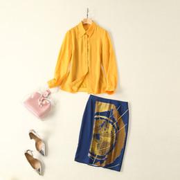 $enCountryForm.capitalKeyWord Australia - European and American women's clothing 2019 summer new style Long-sleeved yellow shirt Blue print skirts Fashion suits