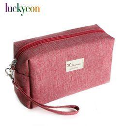 $enCountryForm.capitalKeyWord Australia - Fashion Solid Canvas Cosmetic Bag Makeup Pouch Tote Waterproof Organizer Beauty Travel Bag Portable