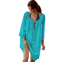 China Bikini Cover Up Lace Hollow Crochet Swimsuit Beach Dress Women Summer Ladies Cover-Ups Bathing Suit cheap ladies tassel bikini suppliers
